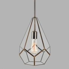 Faceted Glass and Steel Teardrop Pendant Lamp