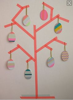 "Easter washi tape diy by ""meuk is leuk"" Easter Craft Activities, Easter Arts And Crafts, Washi Tape Crafts, Paper Crafts, Diy Crafts, Washi Tapes, Masking Tape Art, Easter Tree, Easter Eggs"