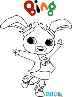 Cartoni animati... Stampa  le immagini da colorare del tenero coniglietto Bing che ogni giorno insieme ai suoi amici vive emozionanti avventure. Colora Bing Silhouette, Coloring Pages, Hello Kitty, Hobbit, Bunny, Snoopy, Happy, Painting, Fictional Characters