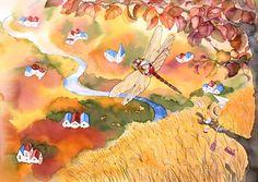 メルヘンイラスト 秋の風景とトンボに乗った女の子