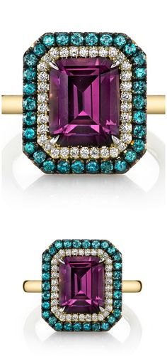 The Omi Prive Duet ring with a beautiful and rare 3.48 carat emerald cut purple spinel surrounded by diamonds and alexandrites.