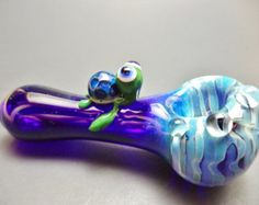 Blue Fumed Turtle Glass Pipe