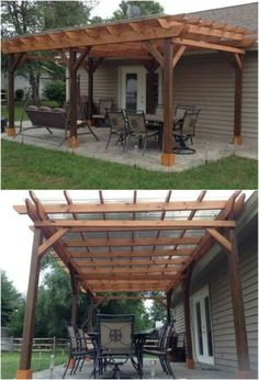 Something that I have always wanted is a pergola. There is just something so gracious and relaxing about having a pergola in the yard. Now that I have the space in my backyard I have Diy Pergola, Small Pergola, Pergola Attached To House, Pergola Swing, Deck With Pergola, Diy Deck, Pergola Shade, Diy Patio, Backyard Patio