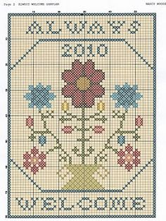 always welcome free cross stitch   (....cr...center motif is about 50x60....whole thing is more)