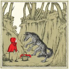 Edward Gorey. Little Red Riding Hood and the wolf meet in the forest