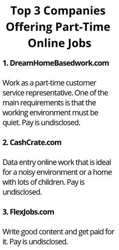 Top 3 Companies Offering Part-Time Online Jobs - Wisdom Lives Here by wisdomliveshere Read Ways To Earn Money, Earn Money From Home, Earn Money Online, Way To Make Money, Legit Work From Home, Work From Home Jobs, 3 Company, Work From Home Opportunities, Thing 1