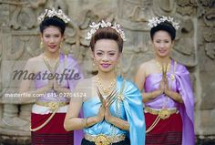 Portrait of three traditional Thai dancers, Chiang Mai, northern Thailand, Asia