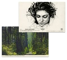 Twin Peaks postcards.  Illustrator Paul Willoughby