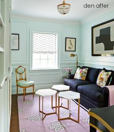 A Lovely Library. Interior Design: Jessica Waks in Style At Home. Style At Home, My Living Room, Living Area, Living Spaces, Home Interior Design, Interior Decorating, Decorating Ideas, Mint Green Walls, Blue Walls