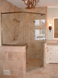 Bathroom Remodel Corner Shower corner shower with glass tile privacy window | salle de bain
