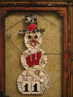 Wisconsin Badgers custom mosaic snowman, mosaic art.