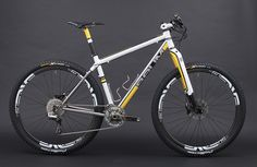 "kinkicycle: ""GTR MTB - Bianco Fuji, Giallo Granturismo, Grigio Granito by Baum Cycles on Flickr. """