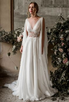 An ivory silk chiffon greek wedding dress, this design is perfect for the bride on her wedding day as a true goddess wants to feel. Details: -upholstery with silk chiffon pleats -Pearl lace appliqué on the bodice waist area -Bateau neckline in tulle, - Greek Wedding Dresses, Bohemian Wedding Dresses, Wedding Dress Styles, Bridal Dresses, Goddess Wedding Dresses, Maxi Dresses, Bohemian Weddings, Medieval Wedding Dresses, Egyptian Wedding Dress
