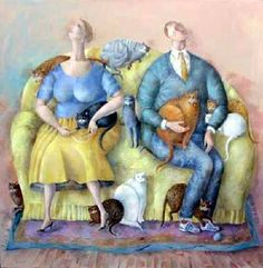Cat and people paintings. Elizabeth Taggart - Family group.