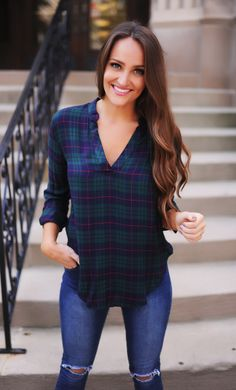 Green/Navy Plaid V Top - Dottie Couture Boutique