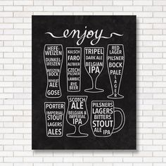 Enjoy Beer Print - Black & White - Bar Poster - Chalkboard - Craft ...