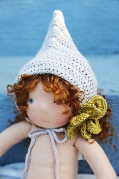 Wool Crochet Pixie Hat for 12 14 or 16 inch by WildGingerKids, $36.00