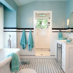 Bathroom Black White Green Tile Design Ideas, Pictures, Remodel and Decor