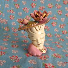 1940s Ladies Head Vase Vintage Large Hat by SweetRepeatVintage, $34.95