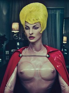 Atsuko Kudo latex cape and catsuit.     Beauty note: When all else is superpowered, go natural on skin with Napoleon Perdis Off Duty Tinted Moisturizer.  Photographs by Steven Klein  Styled by Edward Enninful  September 2012