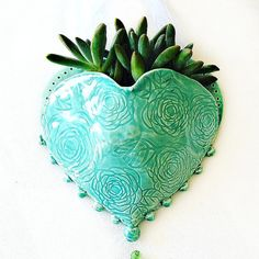 Hanging Planter Ceramic Wall Pocket Heart by TheBabyHandprintCo