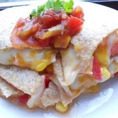 Cheesy Tortillas http://allrecipes.com/recipe/cheesy-tortillas/