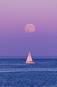 Sailing Under The Moon - Nova Scotia, Canada
