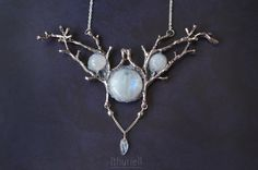 Imladris Winter  Moonstone necklace Silver branches Elven