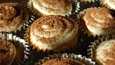 These are delicious tiramisu cupcakes. They are relatively easy to make as they use a boxed cake mix. Read recipe in entirety first - it sounds more complex then it actually is. You can decorate these to be quite elegant And fancy in presentation for Brunches, Bridal showers, or whatever suits your needs. These sell at gourmet bakeries, coffee shops And cafes for a pretty penny. Note: I do use mascarpone to make these as that is more traditional, but you could substitute with plain crea...