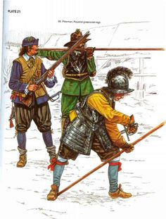 English Civil War musketeer and pikemen. This image shows the principal weaponry of the infantryman at the time, the pike and musket. It also serves to show the variety of uniform being worn.