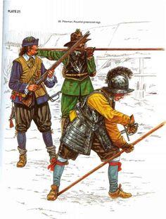English Civil War musketeer and pikemen