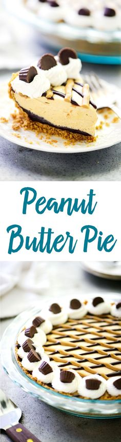 This smooth and silky peanut butter pie recipe has a hidden layer of chocolate, a crunchy peanut butter cookie crust and is topped with mini peanut butter cups!