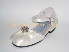 ivory satin flower girl shoes with beading bow