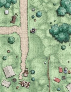Mixed forest road corner well w campsite tents fire wagon Scene Map Album on Imgur