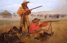 """Buffalo in Camp"" -Winner of the 2009 Prix de West Frederick Remington Award - Recent Originals by Craig Tennant"