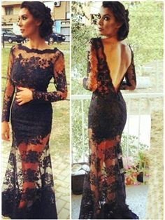 Sexy Long Sleeves Lower Back Lacey Evening Dress
