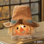Scarecrow glass block light. Adorable