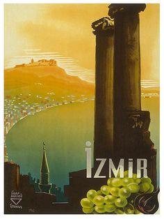 Travel Poster Turkey Art Print Izmir Vintage by Blivingstons