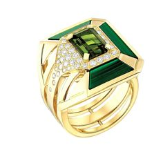 My Green Ring in 18k yellow gold set with a tourmaline surrounded by malachite and diamonds by CHANEL
