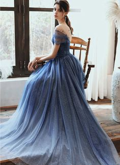 Stunning Blue Tulle Beaded Long Dress, Long Cap Sleeve Senior Prom Dress The Effective Pictures We Offer You About Plus Size Summer Outfits dresses A quality picture can tell you many things. Evening Dresses With Sleeves, Blue Evening Dresses, Prom Dresses Blue, Event Dresses, Day Dresses, Pretty Dresses, Beautiful Dresses, Wedding Dresses, Unique Formal Dresses