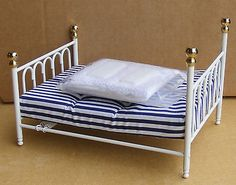 1:12 #white metal double bed & #covers dolls house #miniature bedroom accessory 1,  View more on the LINK: http://www.zeppy.io/product/gb/2/311433216148/