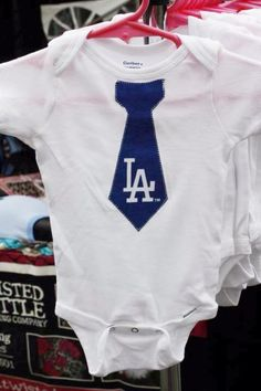 White Onesie with Dodgers Tie Applique by TwistedRattle on Etsy, $10.00