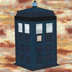 The TARDIS Paper Piecing Quilt Pattern - one of 20 free paper piecing patterns in a Doctor Who Along