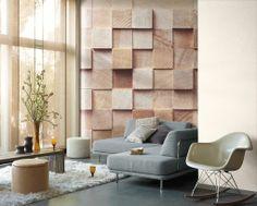 Papel pintado que simula relieves de madera