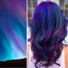 This Galaxy Hair Trend Is Out-Of-This-World found on Polyvore featuring polyvore, hair, colored hair, galaxy and backgrounds