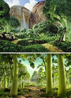 "Delicious Foodscapes by Carl Warner (look closely!) ""I tend to draw a very conventional landscape using classic compositional techniques as I need to fool the viewer into thinking it is a real scene at first glance, it is the realisation that the scene is in fact made of food that brings a smile to the viewer, and for me that's the best part"" ~ Carl Warner 