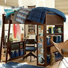 I love the Sleep + Study Loft on pbteen.com for my guys