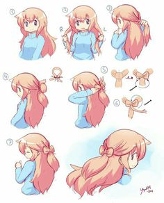 Hair Reference, Art Reference Poses, Anime Drawings Sketches, Cute Drawings, Drawing Hair Tutorial, Pelo Anime, Kawaii Hairstyles, How To Draw Hair, Hair Designs