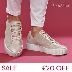 🔺SALE - £20 Off these Causal Leather Trainers👍  Get them here 👉  www.beggshoes.com/romika-montreal-s-03-14203-188810  🔹 Sizes: 38 - 41 🔹 Other colours online 🔹 Leather Upper 🔹 Price: Now £75 Gold Trainers, Gold Sneakers, Platform Sneakers, Romika Shoes, Bags 2014, Pleated Midi Skirt, Metallic Leather, Simple Outfits