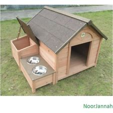 OUTDOOR LARGE WOODEN DOG HOUSE WATER FOOD BOWLS PET BED SHELTER INDOOR
